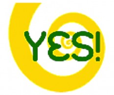 "Divine Light Vibrations spiral logo with ""yes"" superimposed"