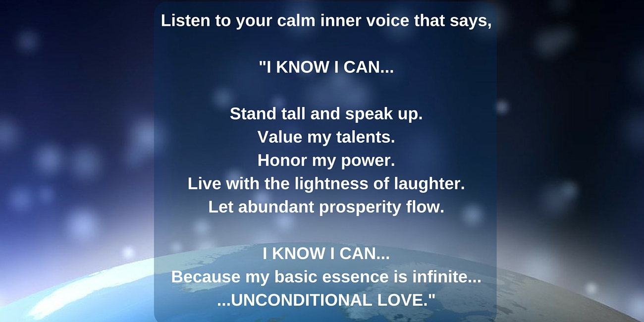 Divine Light Vibrations by Glenn Younger banner with slogan: I KNOW I CAN because my basic essence is Unconditional Love. Spiritual Transformation