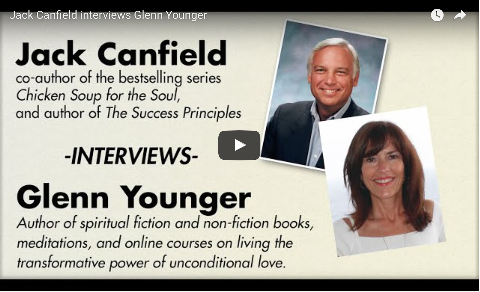 Divine Light Vibrations, Glenn Younger author video interview with best selling author Jack Canfield on her spiritual fiction books