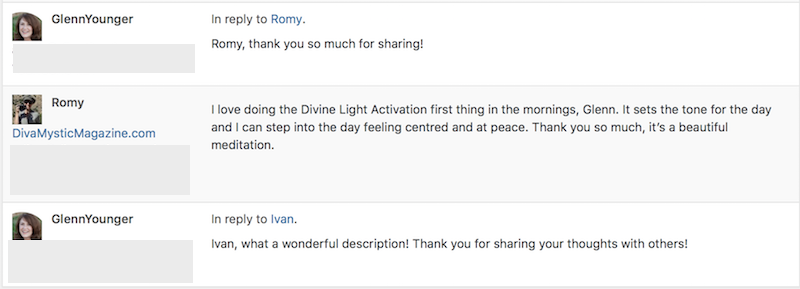 testimonials for the Basic Activation of Divine Light Vibrations guided meditation; Enlightertainment with Glenn Younger on DivineLightVibrations.com