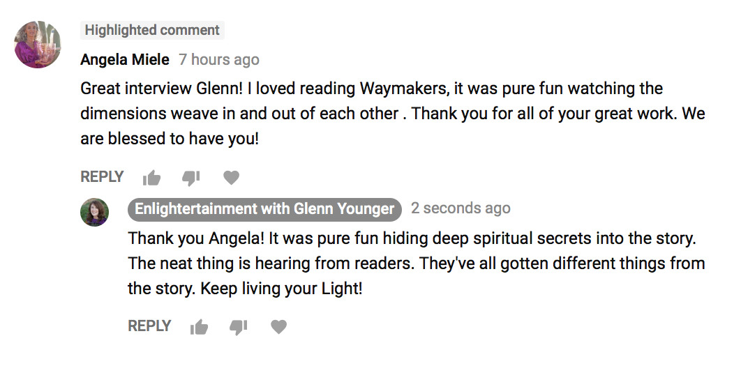 Testimonial on YouTube for Waymakers by Glenn Younger author